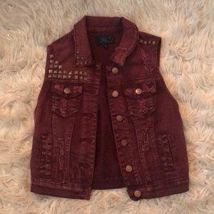 Chi Qle, burgundy vest size S